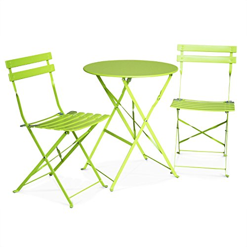Alice 39 s garden salon de jardin bistrot pliable emilia for Table ronde avec chaises