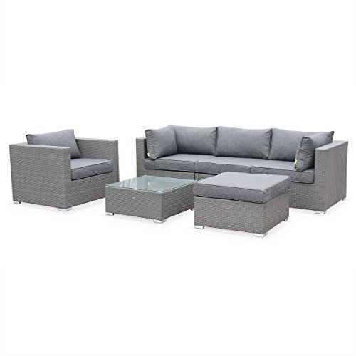 alice 39 s garden salon de jardin en r sine tress e caligari gris coussins gris 5 places. Black Bedroom Furniture Sets. Home Design Ideas
