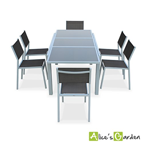 Alice 39 s garden salon de jardin table extensible alabama blanc taupe table 150 210cm avec - Alice garden salon jardin ...