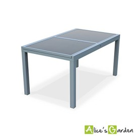 Alice 39 S Garden Salon De Jardin Table Extensible Alabama Blanc Taupe Table 150 210cm Avec