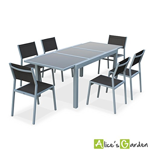 alice 39 s garden salon de jardin table extensible alabama blanc taupe table 150 210cm avec. Black Bedroom Furniture Sets. Home Design Ideas