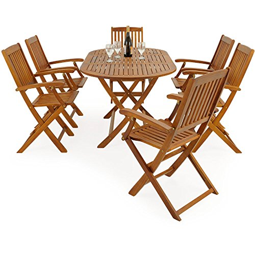 salon de jardin boston 1 table et 6 chaises en bois d 39 acacia. Black Bedroom Furniture Sets. Home Design Ideas