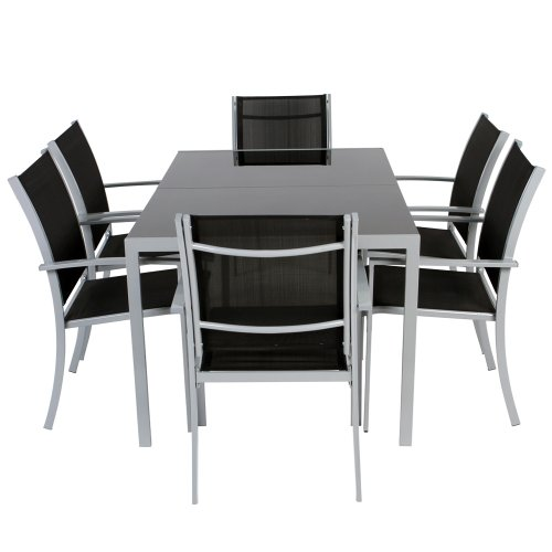 salon de jardin terrasse en aluminium chaises 56 x 62 x 88 cm table 140 x 90 x 72 cm. Black Bedroom Furniture Sets. Home Design Ideas