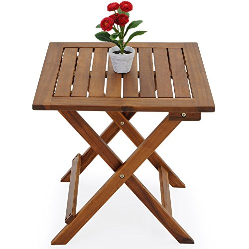 table basse pliante en bois tables jardin d 39 appoint 46x46cm pliable acacia. Black Bedroom Furniture Sets. Home Design Ideas