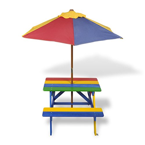 table de pique nique enfant en quatre couleurs avec parasol. Black Bedroom Furniture Sets. Home Design Ideas