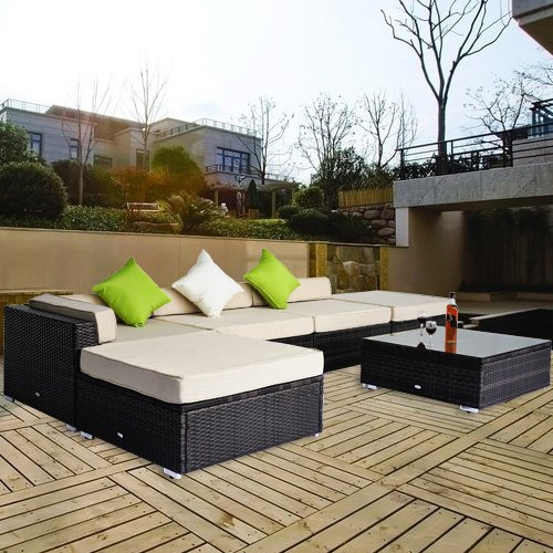 salon de jardin canape d 39 angle resine tresse poly rotin brun 18 pcs neuf 99. Black Bedroom Furniture Sets. Home Design Ideas