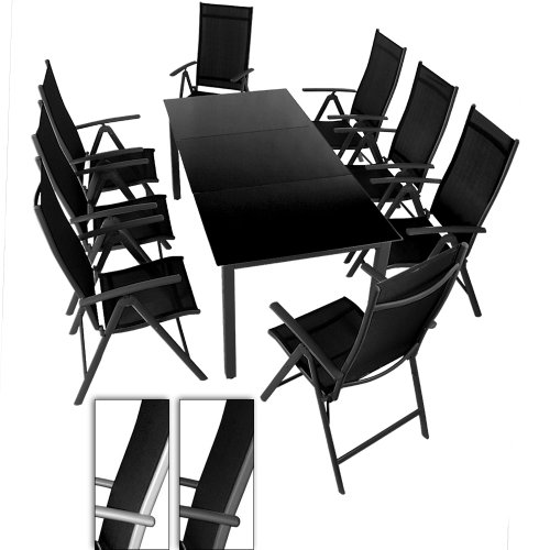 salon de jardin terrasse gris clair ensemble 8 chaises et table avec plateau en verre noir 190. Black Bedroom Furniture Sets. Home Design Ideas