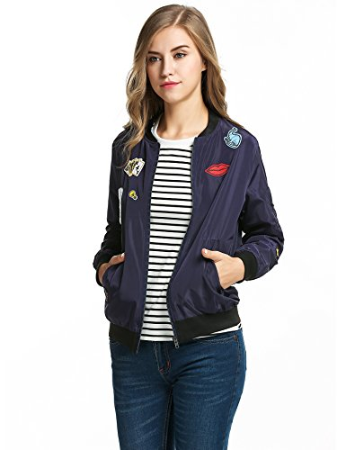 cravog mode veste femme du sport jacket blouson bomber v lo manteaux manche longue avec badge poche. Black Bedroom Furniture Sets. Home Design Ideas