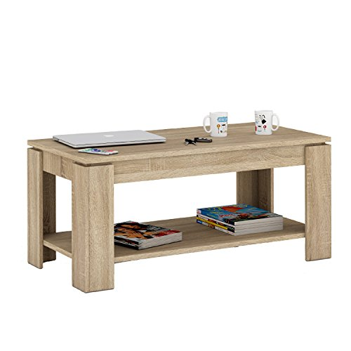 Habitdesign 001639 f table basse relevable avec porte revues int gr ch ne naturel 102 x 50 x 43 - Table basse porte revue ...
