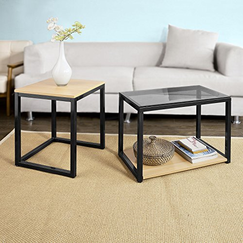 sobuy fbt35 sch tables basses gigognes set de 2. Black Bedroom Furniture Sets. Home Design Ideas