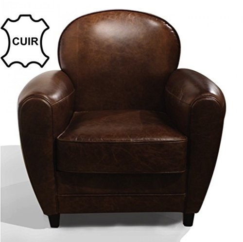 Fauteuil club en cuir marron vintage - Decoration salon cuir marron ...