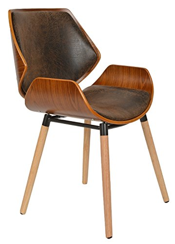ts ideen 1 x chaise de bureau bois de ch ne fonc faux cuir marron fauteuil. Black Bedroom Furniture Sets. Home Design Ideas