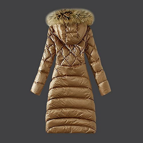 lvrao femme doudoune longue duvet manteau capuche fausse fourrure l g re plume parka pour hiver. Black Bedroom Furniture Sets. Home Design Ideas