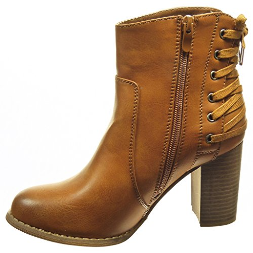 angkorly chaussure mode bottine low boots femme lacets talon haut bloc 8 cm int rieur. Black Bedroom Furniture Sets. Home Design Ideas