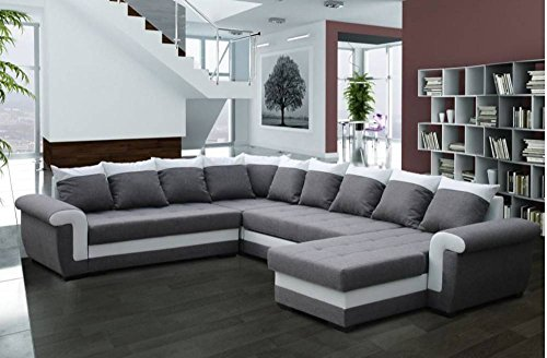 canap convertible londonderry angle panoramique gris et blanc. Black Bedroom Furniture Sets. Home Design Ideas