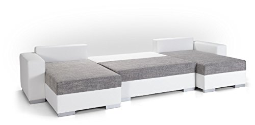 Canap d 39 angle convertible panoramique 5 6 places enno - Canape panoramique simili cuir ...