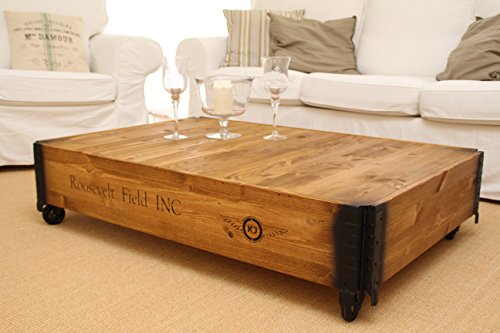 Table basse coffre en bois table d 39 appoint vintage style for Table coffre