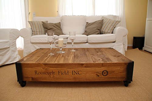 Table basse coffre en bois table d 39 appoint vintage style shabby chic bois massif noyer - Table basse shabby chic ...