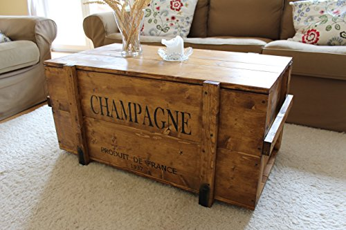 caisse en bois coffre table basse table d 39 appoint vintage style shabby chic bois massif noyer. Black Bedroom Furniture Sets. Home Design Ideas