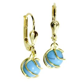 InCollections-0050160102401-Boucles-dOreille-Femme-Or-Jaune-8-Cts-3331000-Turquoise-0