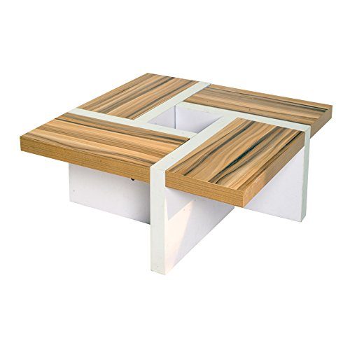 Rebecca srl table de salon table basse bois marron blanc for Salon bois moderne