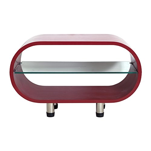 Rebecca Srl Table De Salon Meuble Tv 1 Etagere Bois Verre Rouge Moderne Contemporain Sejour Living Cod 0 1161
