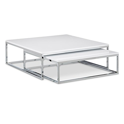 Relaxdays table basse avec plateau en bois flat lot de 2 for Table basse blanche pied bois