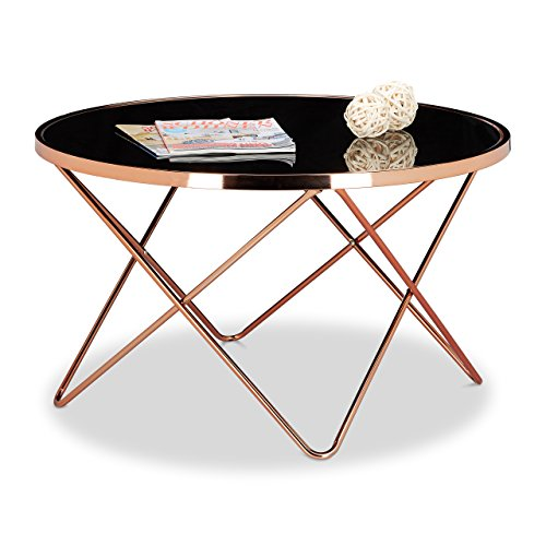 Relaxdays table basse ronde copper en cuivre et verre noir - Table basse ronde en verre design ...