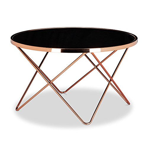 Relaxdays table basse ronde copper en cuivre et verre noir for Table de salon ronde design