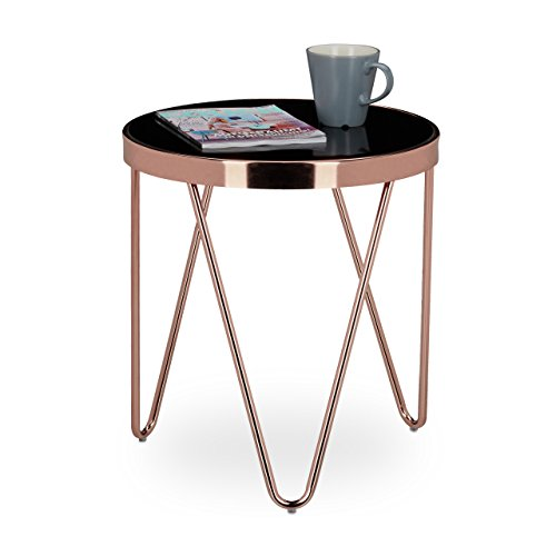 relaxdays table d 39 appoint ronde en cuivre hxlxp 46 x 42 x 42 cm table console tendance table. Black Bedroom Furniture Sets. Home Design Ideas