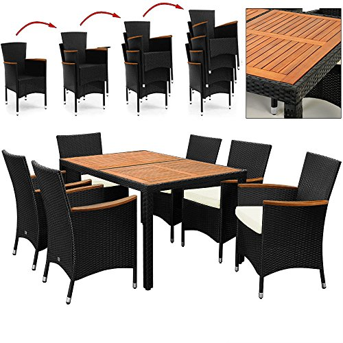 salon de jardin polyrotin ext rieur meubles ensemble table 6 chaises noir bois. Black Bedroom Furniture Sets. Home Design Ideas