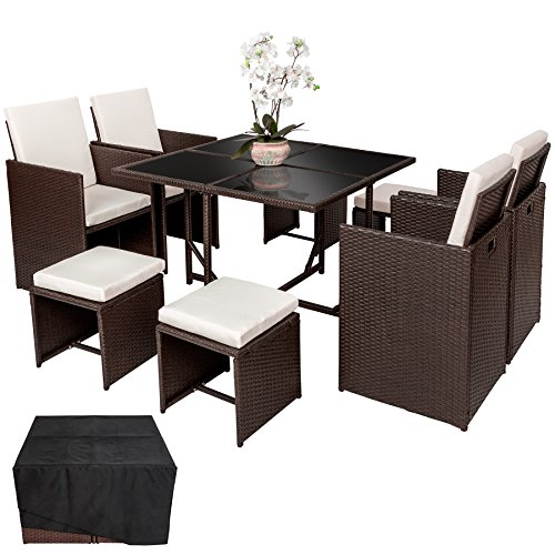 tectake ensemble salon de jardin poly rotin 4 chaises 4 tabouret 1 table housse de. Black Bedroom Furniture Sets. Home Design Ideas