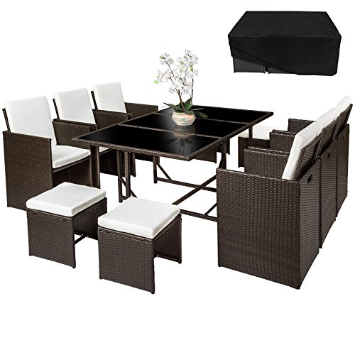 Tectake ensemble salon de jardin en r sine tress e poly rotin table set 6 1 4 housse de for Housse de table de jardin en resine