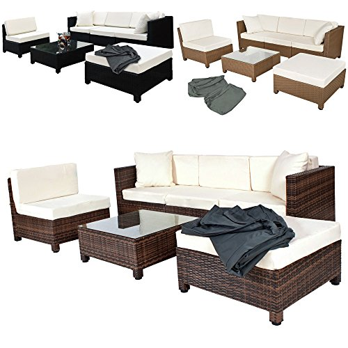 tectake salon de jardin r sine tress e poly rotin aluminium avec deux set de housses diverses. Black Bedroom Furniture Sets. Home Design Ideas