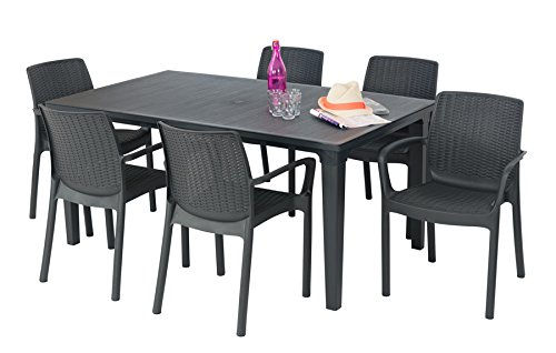 ALLIBERT Salon de jardin: table + 6 fauteuils anthracite