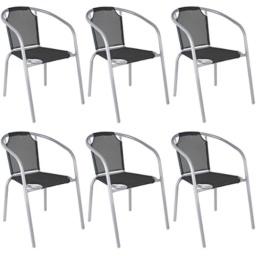 Promobo Ensemble Lot 6 Fauteuils Chaise Bistrot Jardin Empilable Resine Textilene Structure Metal Noir