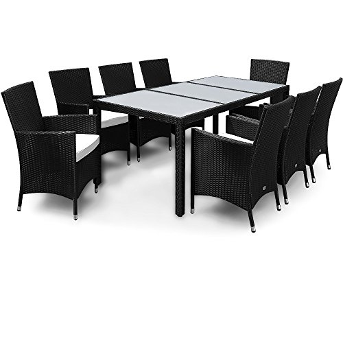 salon de jardin 17 pcs ensemble table 8 chaises alu polyrotin verre. Black Bedroom Furniture Sets. Home Design Ideas