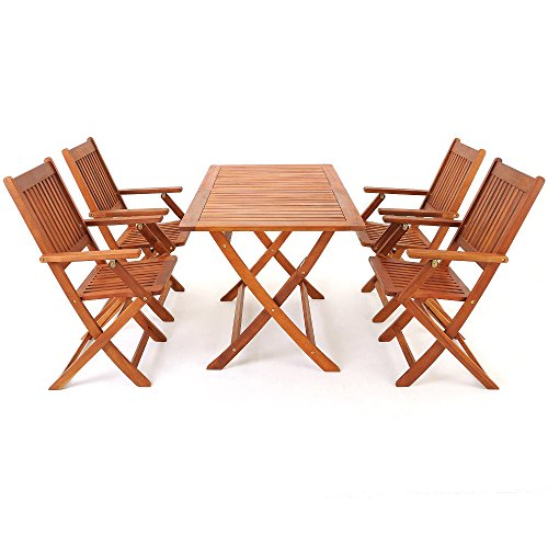 Salon de jardin en bois d\'acacia – Ensemble table et chaise pliable ...