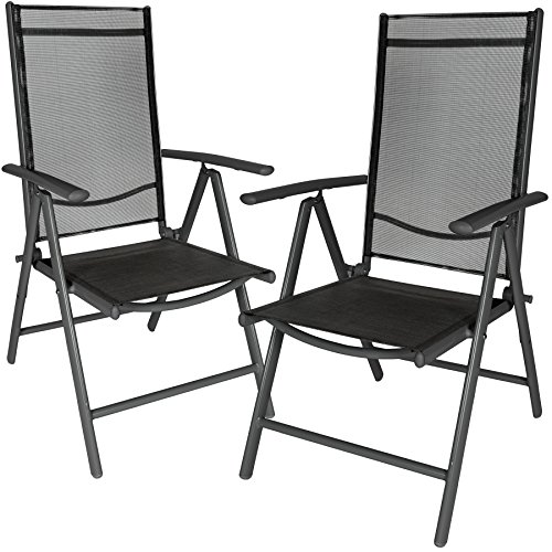 tectake lot de 2 aluminium chaises de jardin pliante avec accoudoir anthracite noir. Black Bedroom Furniture Sets. Home Design Ideas