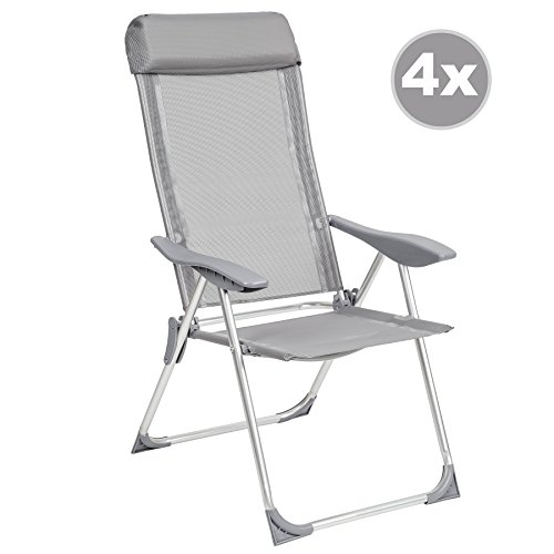 tectake lot de 4 aluminium chaises de jardin pliante avec. Black Bedroom Furniture Sets. Home Design Ideas