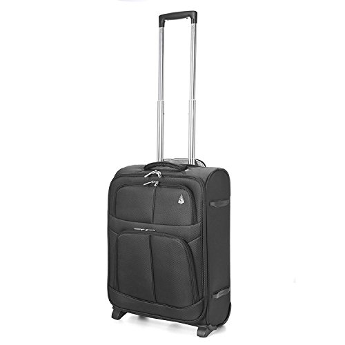 aerolite 55x40x20 taille maximale ryanair bagage cabine main valise souple l ger 2 roulettes noir. Black Bedroom Furniture Sets. Home Design Ideas