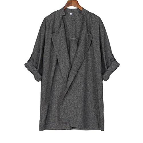 cyberry m femme veste longue lache de femmes printemps automne gris plus size cardigan anorak. Black Bedroom Furniture Sets. Home Design Ideas