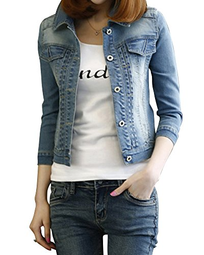 femmes filles denim veste boyfriend style jeans veste. Black Bedroom Furniture Sets. Home Design Ideas
