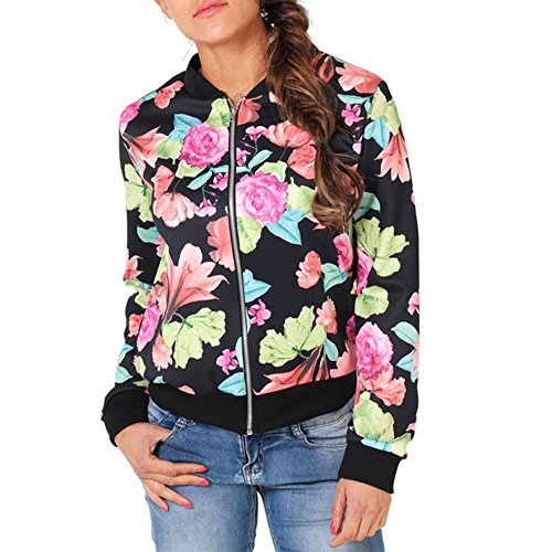 ropalia femme camouflage floral imprim bomber jacket outwear baseball uniform. Black Bedroom Furniture Sets. Home Design Ideas