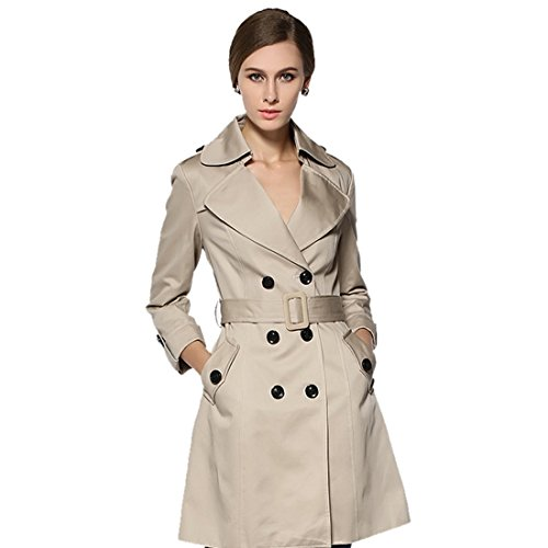 Vertvie Femme Slim Fit Manteau Trench Revers Tops Veste Casual Double Boutonnage Avec Ceinture