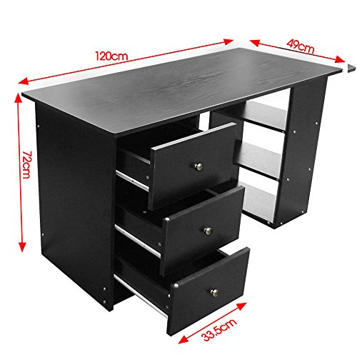 across eu shop bureau informatique table de l 39 ordinateur en mdf avec 3 tiroirs sur bureau. Black Bedroom Furniture Sets. Home Design Ideas