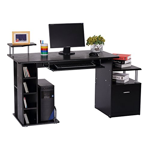 bureau pour ordinateur table meuble pc informatique en mdf noir neuf 13. Black Bedroom Furniture Sets. Home Design Ideas