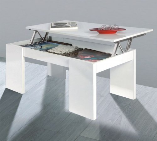 Due home innovations kendra table basse blanc avec plateau for Table basse kendra