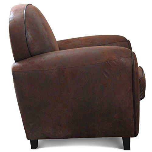 fauteuil club vintage microfibre marron. Black Bedroom Furniture Sets. Home Design Ideas