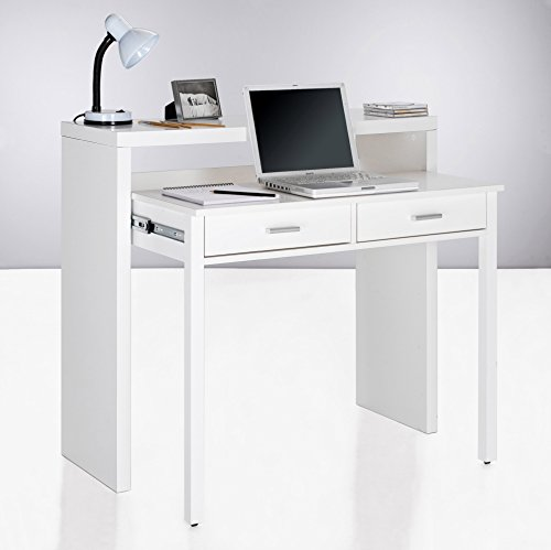 Home innovation table bureau extensible console bureau for Console bureau blanc